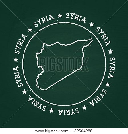 White Chalk Texture Rubber Seal With Syrian Arab Republic Map On A Green Blackboard. Grunge Rubber S