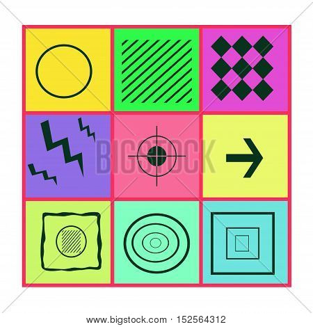 Abstract icons and symbols in the form of tiles. Mix of geometric shapes in colored squares. Fantasy figure to think about. Square for textiles and backgrounds.
