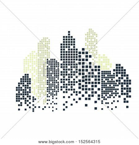 Building and City Illustration at night, City scene on night time, Urban cityscape