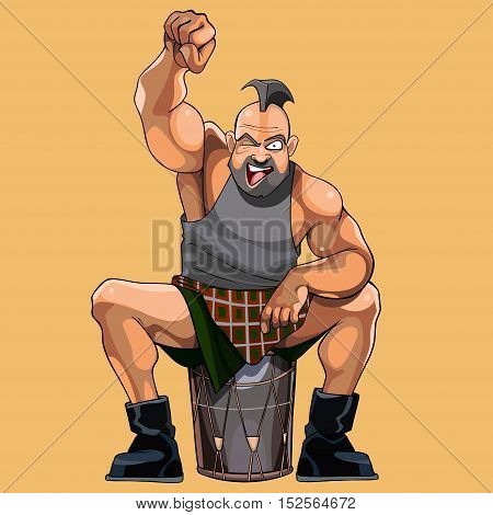 cartoon muscular man happily cheers sitting on the drum