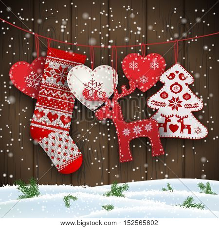 Group of hanging christmas decorations in scandinavian style in front of brown wooden wall, includes hearts, deer, tree and santa's stocking, vector illustration, eps 10 with transparency and gradient meshes