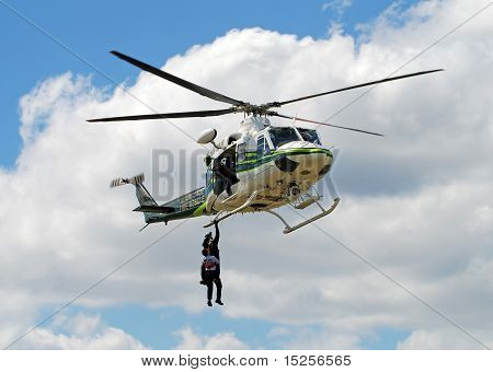 Fire Rescue Helicopter Conducting Training