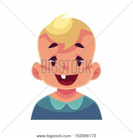 Little boy face, wow facial expression, cartoon vector illustrations isolated on white background. Blond male kid emoji face surprised, amazed, astonished. Surprised, wow face expression