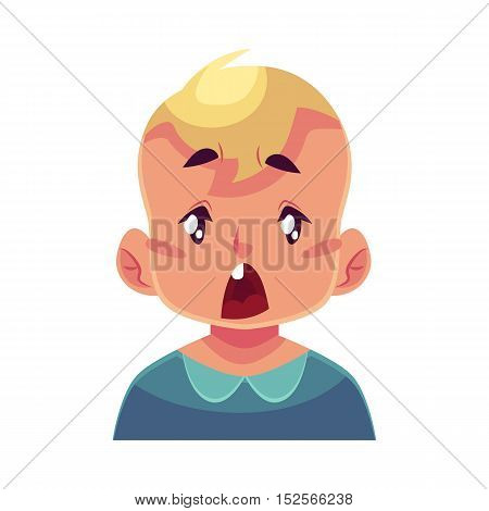 Little boy face, surprised facial expression, cartoon vector illustrations isolated on white background. Blond male kid emoji surprised, shocked, amazed, astonished. Surprised face expression