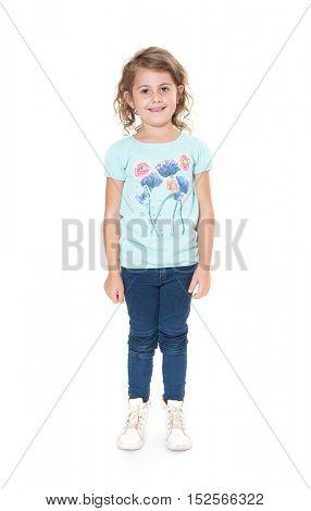 Little girl. All on white background.