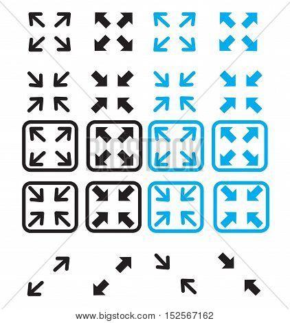 fullscreen and exit fullscreen icon. modern flat icon