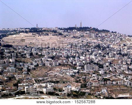 The view of the Mount of Olives in Jerusalem Israel May 16 2005