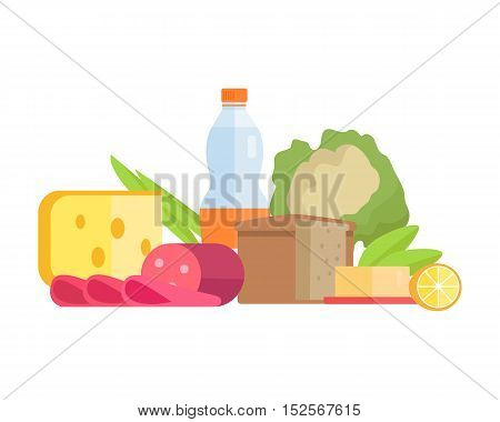 Group of food vector illustrations. Flat design. Collection of various food cheese, sausage, bread, water, fruits and vegetables on white background