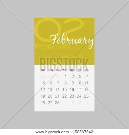Calendar 2017 months February. Week starts from Sunday eps 10