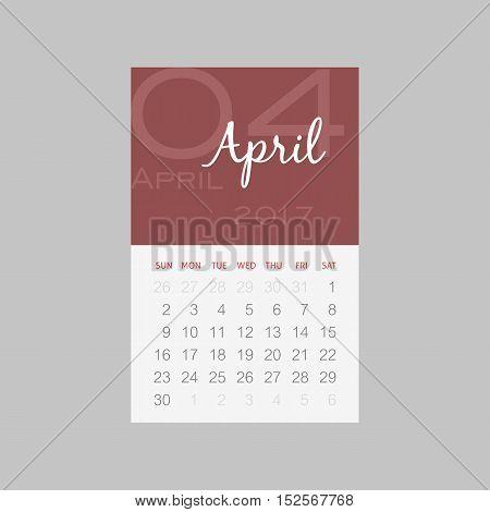 Calendar 2017 months April. Week starts from Sunday eps 10
