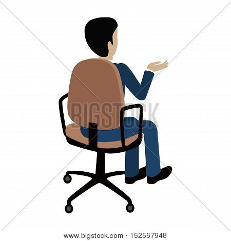 Man sitting on the chair and pointing on something by hand. Back view.