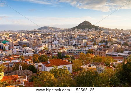View of Athens dominated by Lycabettus hill. Image taken from Anafiotika in the old Town.