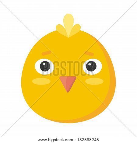 Chicken mask isolated on white. Cartoon mask of a cute hen