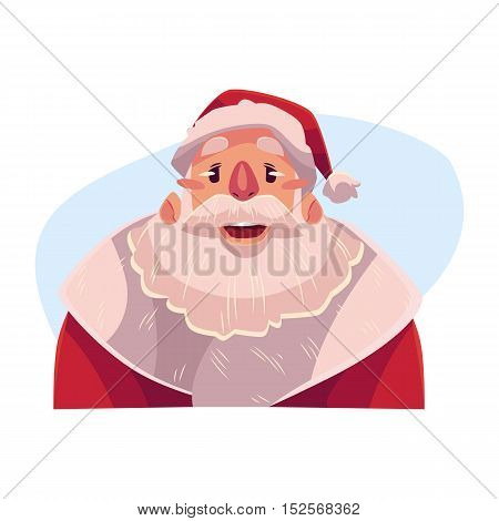 Santa Claus face, wow facial expression, cartoon vector illustrations isolated on blue background. Santa Claus emoji surprised, amazed, astonished. Surprised, wow face expression