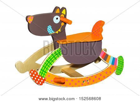 Toy dog colorful funny rocking chair isolated on white background