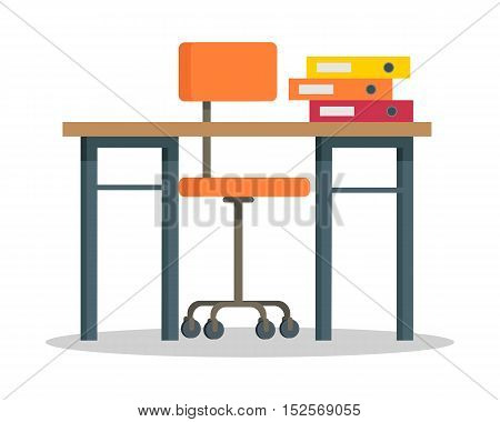 Workplace vector illustration in flat style. Modern office furniture. Table, orange chair, color binders illustration on white