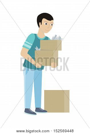 Cleaning service concept vector. Flat style design. Smiling man character carrying boxes with house rubbish.