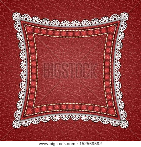 Square patch with lace border on red leather background. Vector illustration