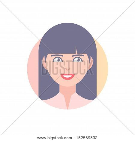 Flat icon of girl's face. Modern vector illustration of smiling woman with long hair. Image is out of circle range.