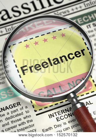 Column in the Newspaper with the Searching Job of Freelancer. Freelancer. Newspaper with the Small Ads of Job Search. Hiring Concept. Blurred Image with Selective focus. 3D Illustration.