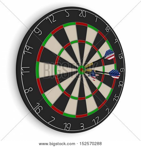 Dart Board With Three Us Flag Darts In Bullseye Isolated On White 3D Illustration