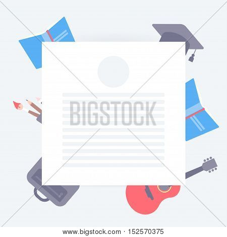 Blank form for student and creative notes. Background for text. Blank sheet with the shadow. Scattered student tools on the background. Modern vector flat illustration.
