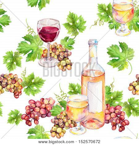 Red and white wine repeated pattern. Wine glass and bottle with vine leaves, grape berries. Watercolor.
