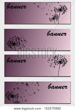 Set Of Banners With Flower Dandelion Sketch