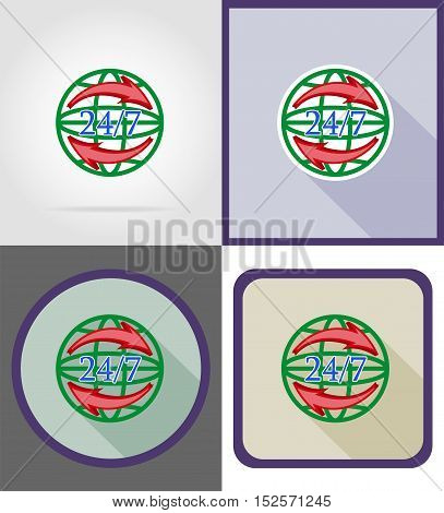 symbol delivery worldwide round the clock flat icons vector illustration isolated on background