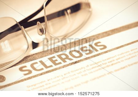 Sclerosis - Medical Concept on Red Background with Blurred Text and Composition of Specs. 3D Rendering.