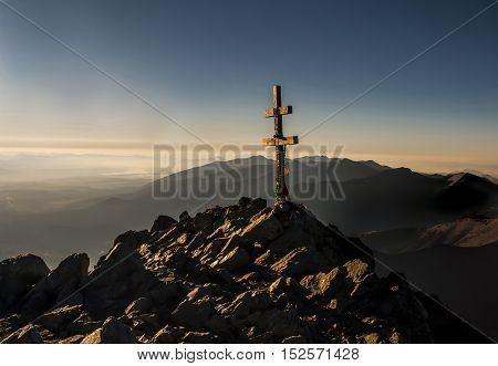 Cross at the summit. The High Tatras. Slovakia
