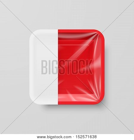 Empty Red Plastic Food Square Container with Empty Label on Gray