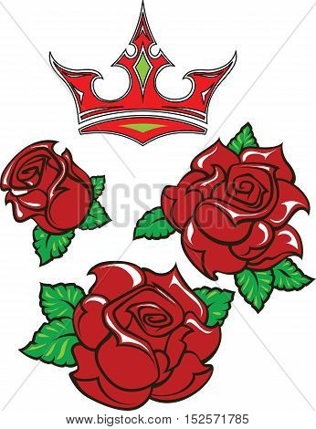 Old-school styled tattoo of three red roses with green leaves and red crown. Editable vector illustration isolated on white background.