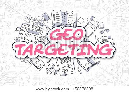 Geo Targeting - Sketch Business Illustration. Magenta Hand Drawn Text Geo Targeting Surrounded by Stationery. Cartoon Design Elements.