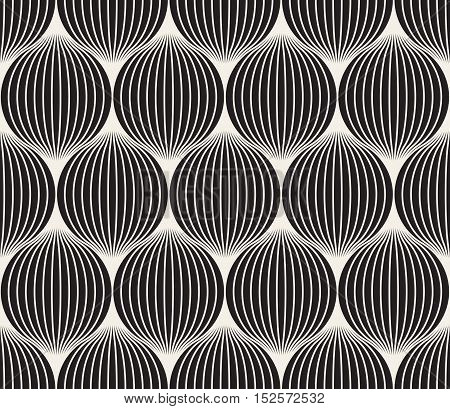 Vector Seamless Black And White Stripes in Circles Pattern. Abstract Geometric Background Design