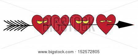 Many hearts broken a ruthless arrow. Love sign. Valentines symbol. Vector illustration.