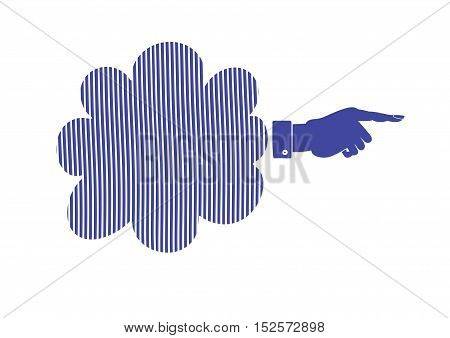 Silhouette of Hand with pointing finger. Vector direction sign