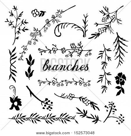 Set of hand drown ink floral branches