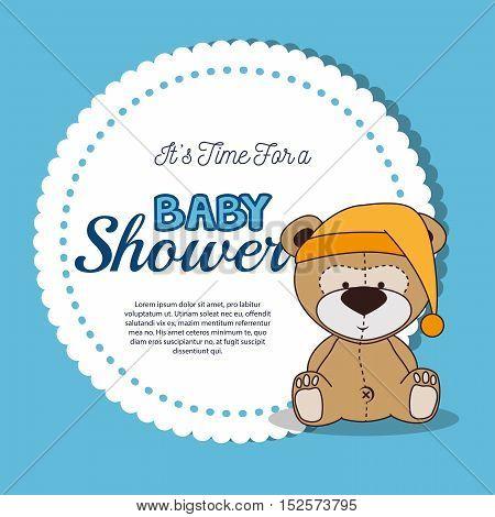 baby shower invitation with cute teddy bear  vector illustration design