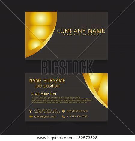 vector business card gold design on black background