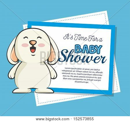 baby shower invitation with cute rabbit vector illustration design