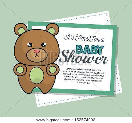 baby shower invitation with cute bear vector illustration design