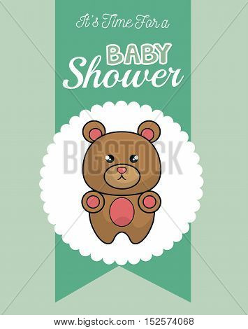 baby shower invitation with cute animal vector illustration design