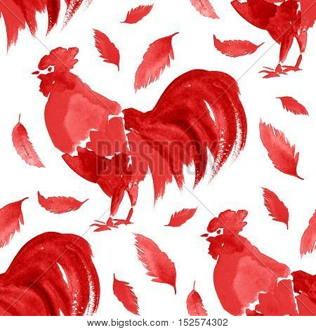 Beautiful vintage seamless pattern with rooster. Perfect for wallpapers, web page backgrounds, surface textures, textile.