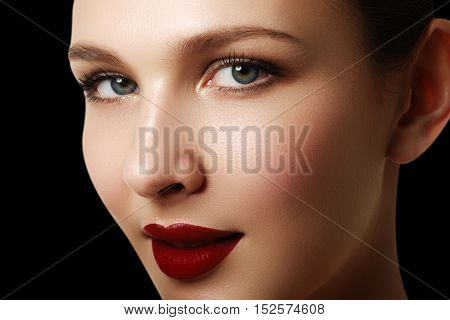 Beautiful Fashion Woman Model Face Portrait With Red Lipstick. G