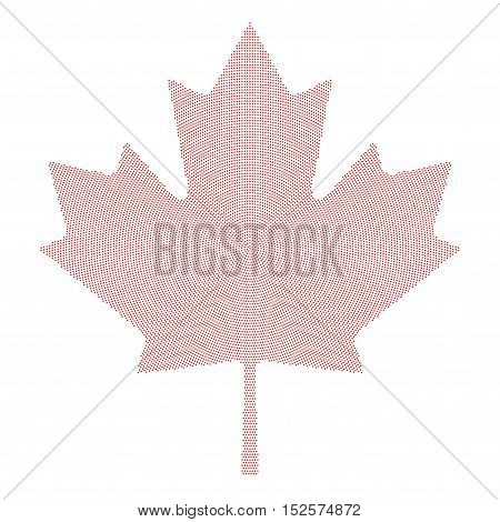 Maple leaf symbol red radial dot pattern. Characteristic leaf of the maple tree and national symbol of Canada. Formed by single dots beginning from the center. Illustration on white background.
