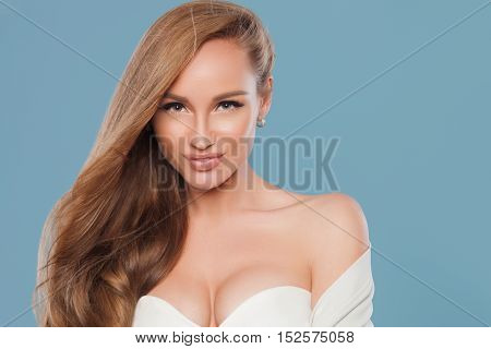 Beautiful natural woman with fashion make-up and blonde hair, portrait of an young girl isolated