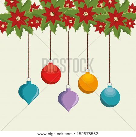 happy merry christmas balls vector illustration design