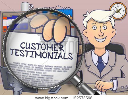 Officeman Shows Text on Paper Customer Testimonials. Closeup View through Lens. Colored Doodle Style Illustration.
