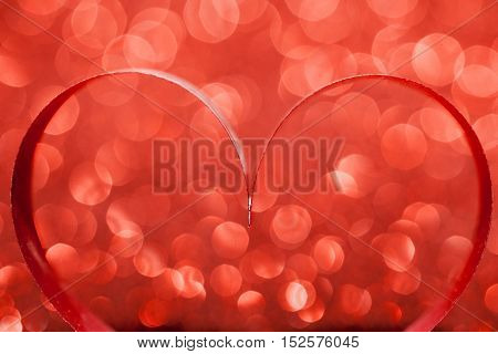 Red ribbon hearts on glitters, Valentines day concept